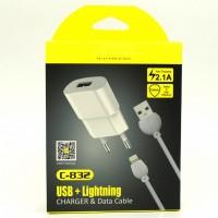 Сетевое зарядное устройство Awei C - 832 2.1A lightning