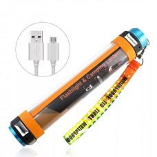 Многофункциональный водонепроницаемый портативный светодиодный фонарик power bank IP-68